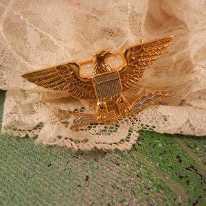 VTG USA golden eagle w chevron shield brooch pin